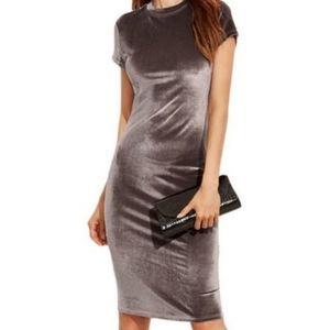 Zara Silver Velvet Mock Neck Body-Con Midi Dress L